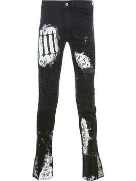 Mjb patchwork distressed skinnt trousers - Black