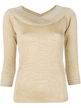Charlott metallic v-neck pullover - Yellow