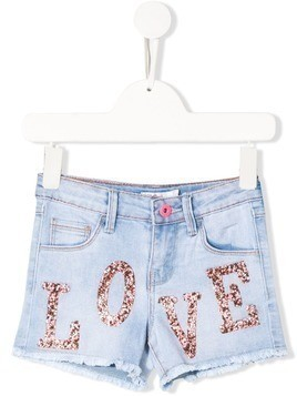 Billieblush crystal-embellished denim shorts - Blue