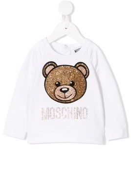 Moschino Kids logo patch sweatshirt - BIANCO