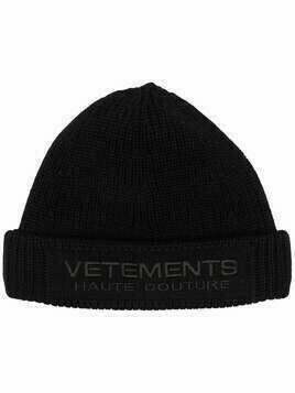 Vetements embroidered logo beanie - Black