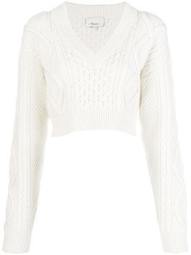 3.1 Phillip Lim cropped open back aran knit sweater - Nude & Neutrals