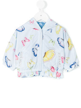 Monnalisa butterfly print hooded jacket - Blue