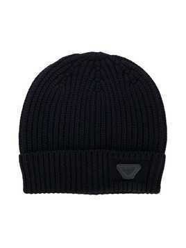 Emporio Armani Kids ribbed beanie - Blue