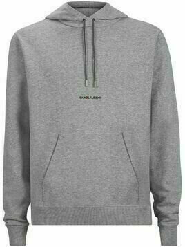 Saint Laurent embroidered logo drawstring hoodie - Grey