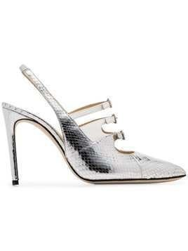 Liudmila metallic silver Bimba 100 snake print leather slingback pumps