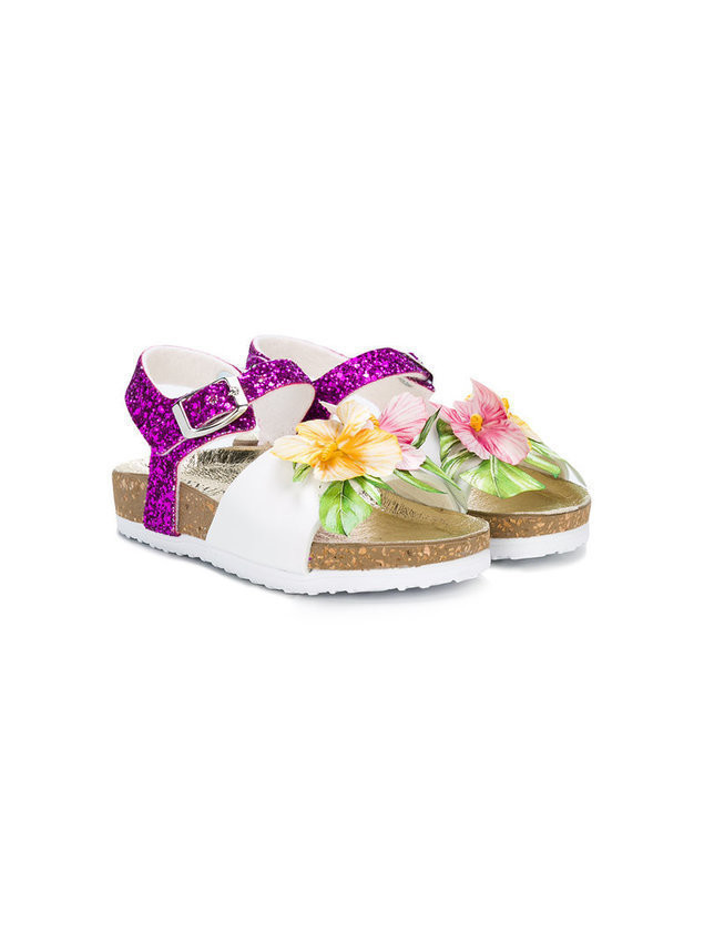Monnalisa - Hibiscus glitter sandals - Kinder - Leather/Lurex/Polyester/rubber - 35 - White