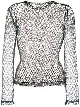 Comme Des Garçons fishnet long sleeved top - Black