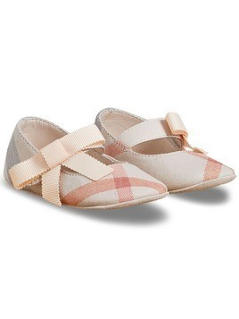 Burberry Kids Bow Detail Check Cotton and Leather Ballerinas - Pink & Purple