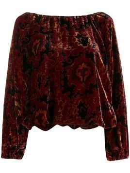 Mes Demoiselles Ada printed velvet top - Red