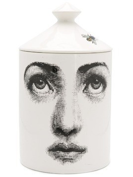 Fornasetti printed ceramic scented candle - White