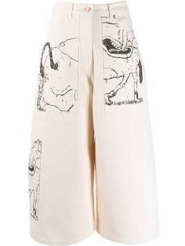 Aalto cropped graphic jeans - Neutrals