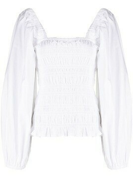 GANNI shirred detail blouse - White