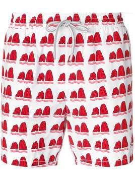 Capricode Faraglioni print swim shorts - Red
