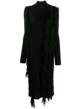 David Koma distressed long-sleeve dress - Black