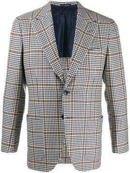 Kiton single-breasted houndstooth blazer - Blue