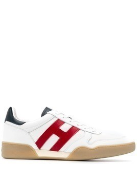 Hogan contrast side logo sneakers - White