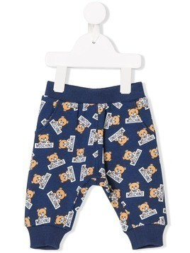 Moschino Kids teddy bear print sweatpants - Blue