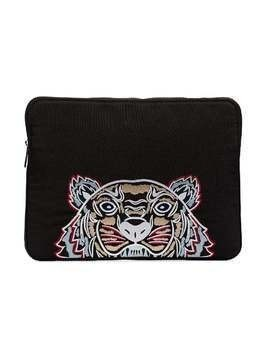 Kenzo black tiger head embroidered laptop case