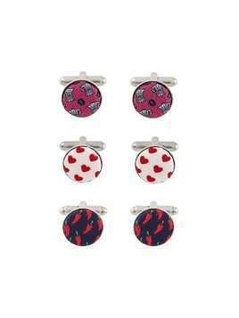 Fefè pack of three patterned cufflinks - Blue