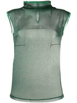 Styland glitterd high neck top - Green