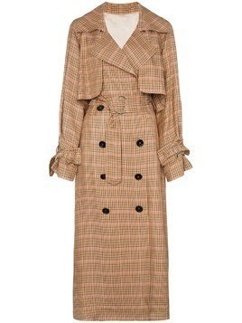 Golden Goose Deluxe Brand Vela checked and belted trench coat - Brown
