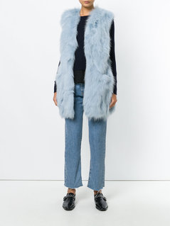 Dondup long fur vest - Blue