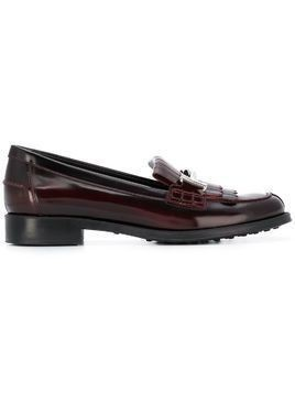Tod's double-T fringed loafers - Pink & Purple