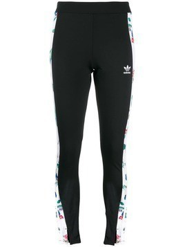 Adidas side-stripe printed leggings - Black