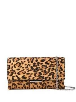 Loeffler Randall snakeskin effect clutch bag - Brown