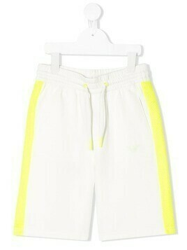 Emporio Armani Kids mesh side panel shorts - White