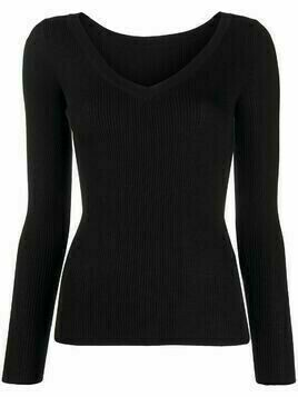 P.A.R.O.S.H. V-neck ribbed knitted top - Black