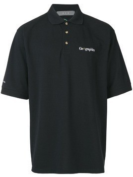 Geo logo embroidered polo shirt - Black