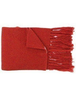 Ami Paris Ribbed Scarf Ami De Coeur Patch - Orange