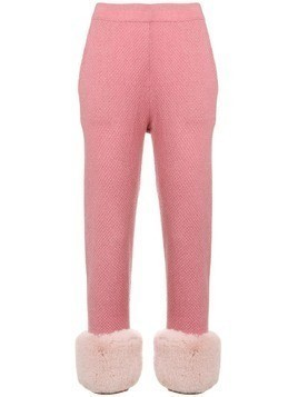 Izaak Azanei high waisted trousers with faux fur trim - Pink