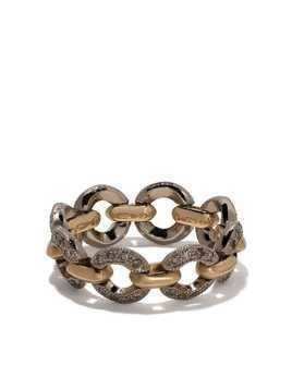 Hum 18kt gold chain link diamond ring - YELLOW GOLD