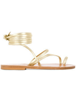 K. Jacques ankle fastened flat sole summer sandals - Metallic