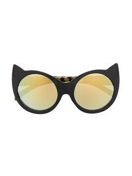 Molo Kids cat-eye leopard glasses - Black