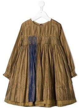 Pero Kids striped empire waist dress - Brown