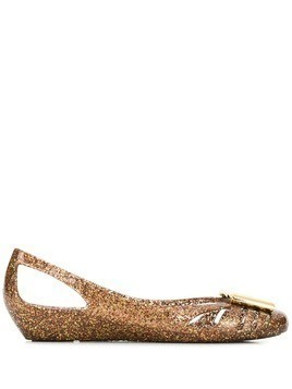 Salvatore Ferragamo glittery ballerina shoes - Gold