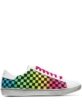 Amiri white Viper rainbow check low-top leather sneakers