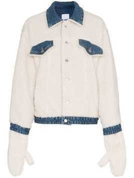 SJYP Shearling and Denim Jacket - White