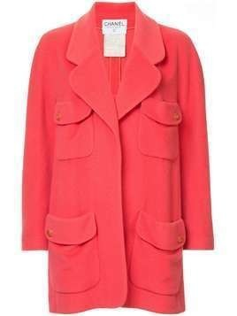 Chanel Pre-Owned cashmere CC logos button long sleeve jacket - PINK