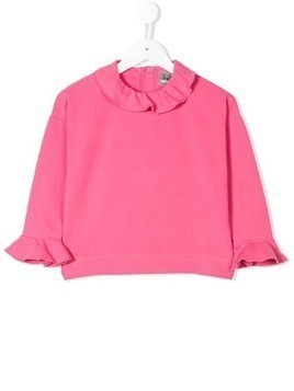 Il Gufo ruffled neckline top - Pink & Purple
