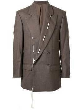 Hed Mayner stitched lapel blazer - Brown