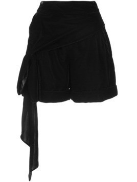 Hellessy bow detail velour shorts - Black