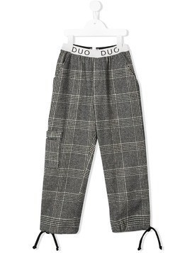 Duo logo check trousers - Grey