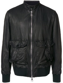 Neil Barrett LEATHER BARACUDA COLLAR JACKET - Black