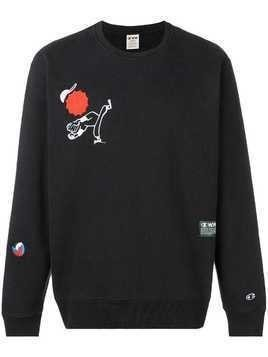 Champion X Wood Wood Baseball player printed sweatshirt - Black