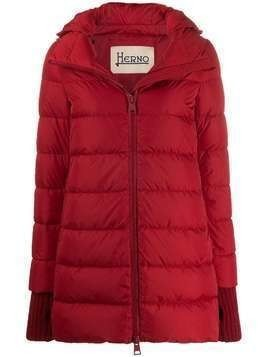 Herno knitted cuffs hooded jacket - Red